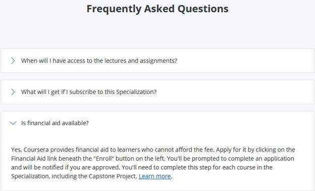 Coursera financial aid FAQ