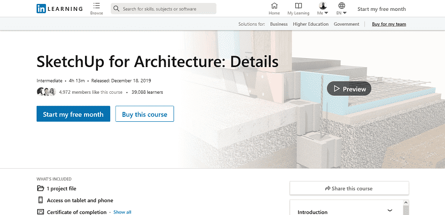 LinkedIn Learning SketchUp for Architecture Details