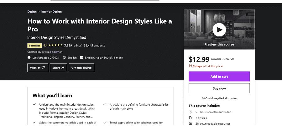 free online Interior Design class